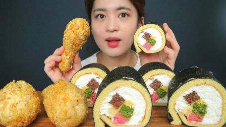 ☆ Sinae Eats ☆ 自制紫菜包饭式奶油蛋糕卷、炸鸡腿面包配奶油 食音咀嚼音(新)
