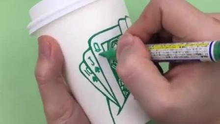 星巴克纸杯还能这么玩?满满的立体感创意,绘画手工小高手