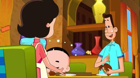大头儿子小头爸爸:吃螃蟹要有技巧的,爸爸好棒呀