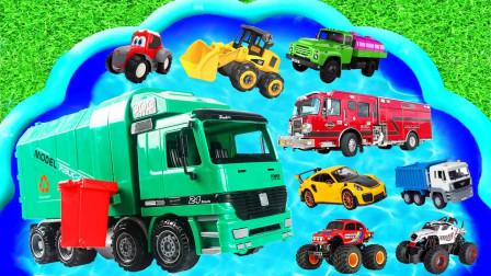 玩具汽车总动员,百宝盆里有消防车、警车、挖掘机,小朋友最喜欢
