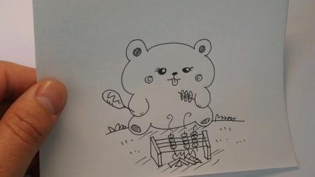 可爱动物简笔画:小熊吃烧烤