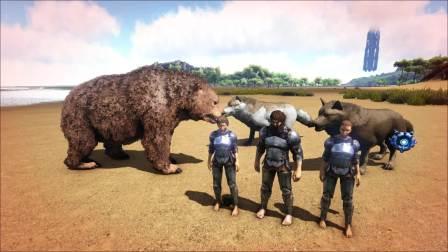 方舟生存进化:恐龙扮演,恐熊和恐狼,小红燃烧挑战毛哥,