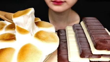 烤棉花糖巧克力配森永巧克力脆皮冰淇淋排白巧克力脆皮酸奶冰淇淋