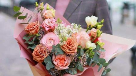 学花艺教学视频 花束包装课程 玫瑰花束包装 鲜花花束包装制作