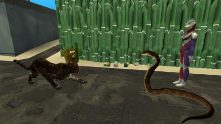 GMOD游戏海绵宝宝的老虎厉害还是迪迦奥特曼的眼镜蛇