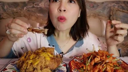 美食吃播:大胃王小姐姐吃炸鸡腿,大口吃的真过瘾!