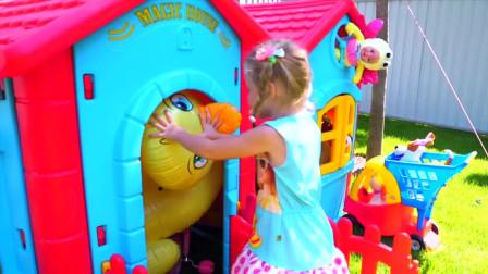 小萝莉新买了玩具屋,和爸爸一起组装完后,还要请小黄人和自己一起住