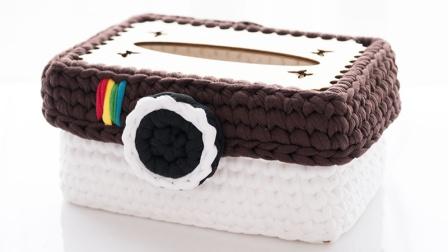 如意鸟布条线手工编织相机款纸巾收纳盒毛线简易织法