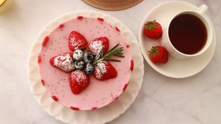 女神节到了,教你在家做草莓酸奶慕斯蛋糕,口感Q弹,入口即化