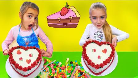 萌宝玩具:太棒了!两个小萝莉是如何装饰自己的蛋糕?