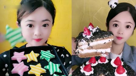 美女直播吃:水果蛋糕、星星糖,看起来就有食欲