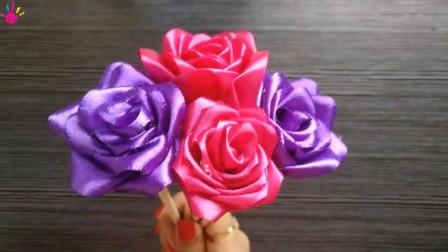 用缎带手工制作玫瑰花欣赏,精致漂亮,简单又实用