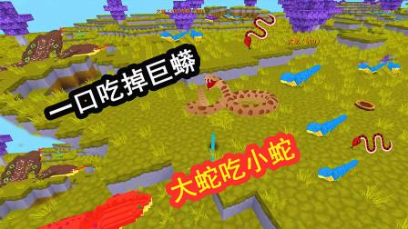 迷你世界:新大蛇吃小蛇,最后一口吃掉巨蟒,血量高达5万!