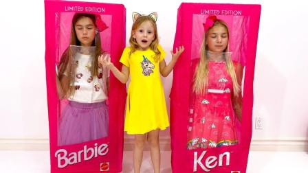 萌宝玩具:好奇怪!小萝莉的两个姐姐为何都在箱子里?