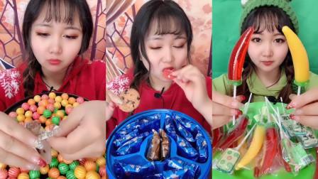 美女试吃巧克力豆和奥利奥饼干还有小辣椒棒棒糖,各种口味任选,你想吃吗?