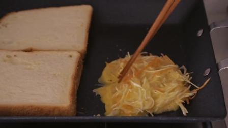 《韩国农村美食》新鲜的蔬菜丝,配上面包做成吐司,健康又美味