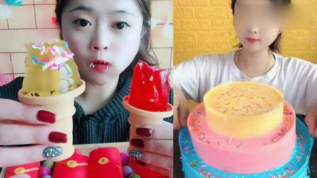 小姐姐直播吃:三层爆浆蛋糕、火炬冰激凌,一口超过瘾,我向往的生活