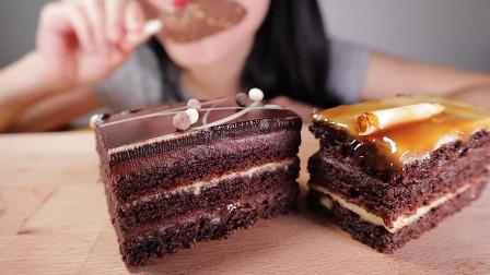 吃货小姐姐小姐姐吃播巧克力焦糖蛋糕和杏仁巧克力冰淇淋!