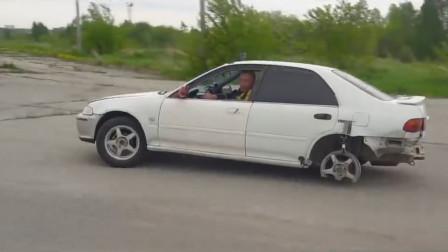 不松手刹的下场,老司机挂着手刹行驶7公里,轮胎变成了这样