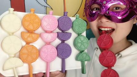 """小姐姐创意手工""""缤纷柠檬片棒棒巧克力"""",果味芬芳,香醇甜滑脆"""