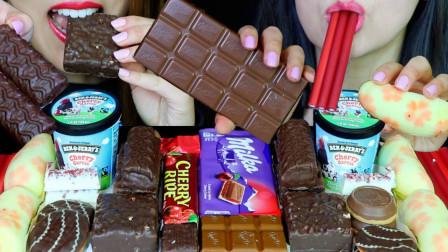 妙卡樱桃巧克力,冰淇淋,樱桃派,香蕉蛋糕,麻薯!吃甜食太棒了