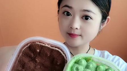 萌姐美食:抹茶味盒子蛋糕,好吃又好看