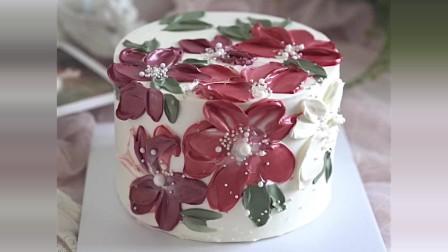 奶油刮刀花装饰蛋糕