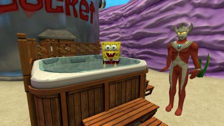 GMOD游戏泰罗奥特曼会跟海绵宝宝一起洗澡吗?