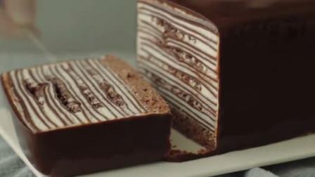 奶油巧克力千层蛋糕,看起来就超级好吃啊