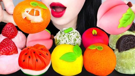 各种蔬果造型的日本和果子,造型精美栩栩如生,橘子就像真的还可以剥皮