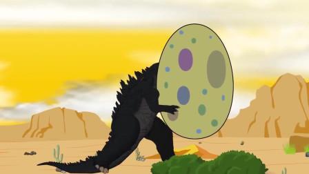 哥斯拉误食超级恐龙蛋,怎料惹怒大怪兽,被追的四处逃窜?
