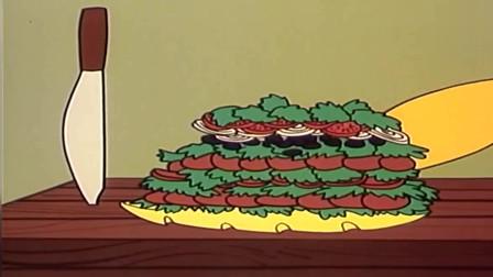 大力水手:做三明治的水手,一个三明治就这么大,难怪力气那么大