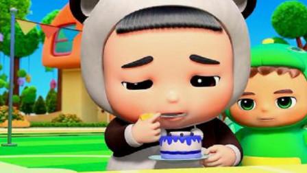 百变校巴:胖熊肚子快撑破了,还在那吃小蛋糕呢,吃不下也要硬吃