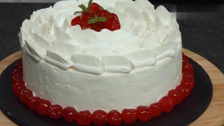 纯奶油裱花蛋糕,这手艺真不是吹的,切开后口水忍不住了!