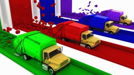 垃圾回收车里撒出很多彩色图案