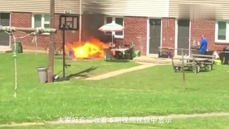 男子用煤气罐烧烤,突然一声巨响,男子瞬间经历生死