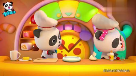 宝宝巴士烤好喷香面饼,放上香浓芝士,好吃的披萨做好了