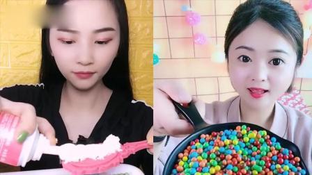 小姐姐直播吃:彩色小糖果、巧克力梳子,看着就过瘾,是我向往的生活