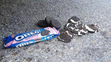 牛人使用小汽车碾压巧克力奥利奥饼干,看着效果好好啊,挺过瘾的