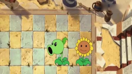 植物大战僵尸:豌豆射手坚果打败路障僵尸,最后小鬼僵尸打败豌豆射手坚果向日葵