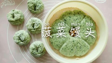 吃腻白面馒头,晴天教你做一款春天颜色的菠菜馒头,不用打汁不变色,蓬松喧软又营养,做法简单