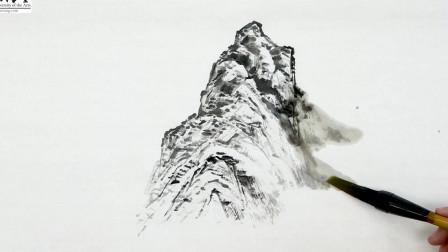 山水画教程:远山和留云的画法 学习如何接云口
