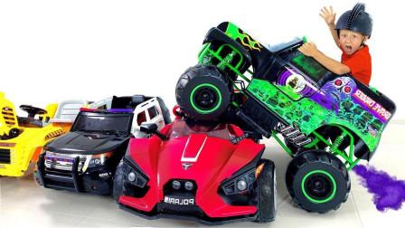 萌宝玩具:太炫酷了!小正太为何把汽车开在别的车上?