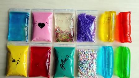 水晶泥大作战,彩虹珍珠豆+果冻泥混合做泥,无硼砂史莱姆创意比拼