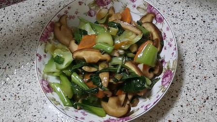 家常香菇炒油菜做法,香嫩可口,食材简单,原汁原味!