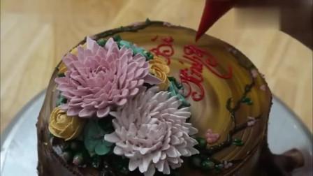 分享国外烘焙大师制作的树根生日蛋糕创作过程