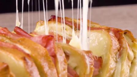 创意美食:在家也能自制的美味白吐司,满满的起司和火腿还能拉丝哦