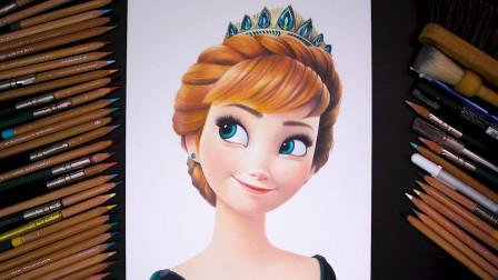 手工彩笔画教程,卡通人物安娜的手绘方法!