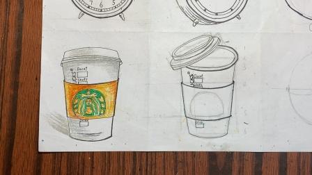 开心橙子^-^樱桃老师  线描:咖啡杯