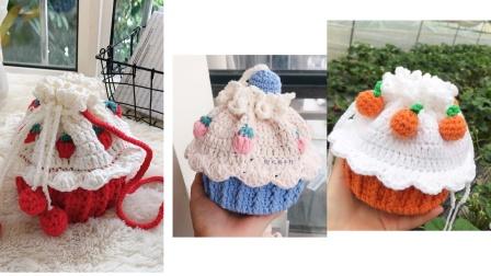 【菲儿妈手作 第87集】可爱草莓纸杯蛋糕包上集 可爱小巧束口包斜跨包 牛奶棉手工编织零基础教程